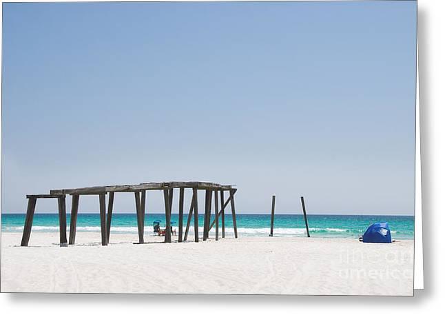 Panama City Beach Greeting Cards - Camp Helen State Park Pier in Panama City Beach Florida Greeting Card by Vizual Studio