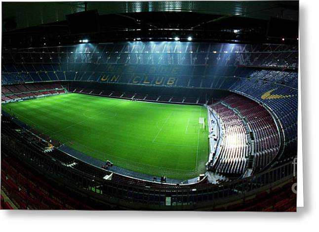 Camp Nou at night Greeting Card by Agusti Pardo Rossello