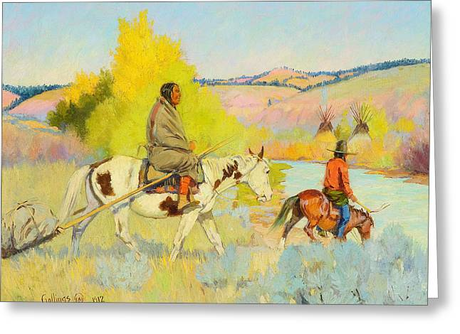 1878 (oil On Canvas) Greeting Cards - Camp on the Tongue River Greeting Card by Celestial Images