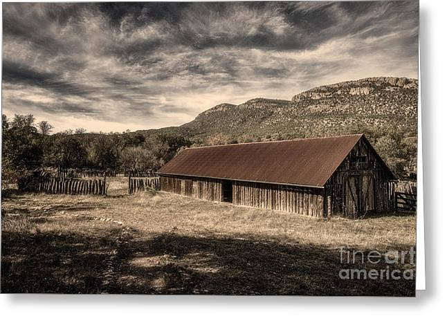 Red Roofed Barn Greeting Cards - Camp Rucker Barn 1 Toned Greeting Card by Al Andersen