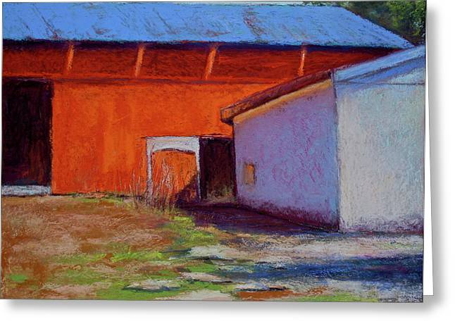 Red Roofed Barn Pastels Greeting Cards - Campbell Farm Greeting Card by Joyce A Guariglia