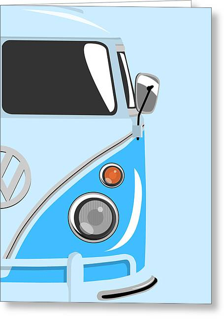 Sixties Greeting Cards - Camper Blue 2 Greeting Card by Michael Tompsett