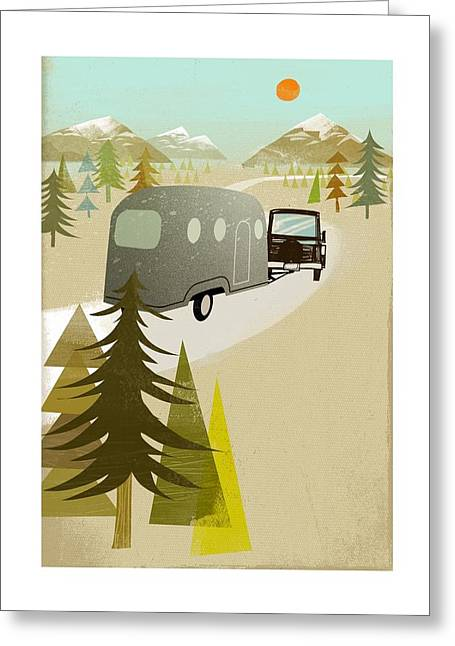 Camper Driving Into The Mountains Greeting Card by Gillham Studios