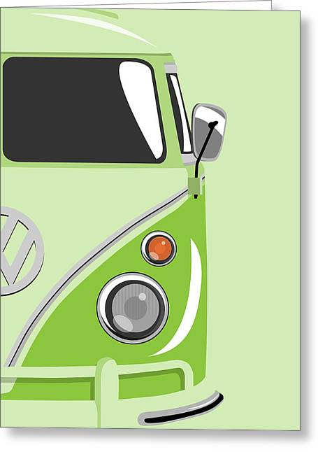 Hippie Greeting Cards - Camper Green 2 Greeting Card by Michael Tompsett