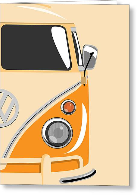 Volkswagen Greeting Cards - Camper Orange 2 Greeting Card by Michael Tompsett