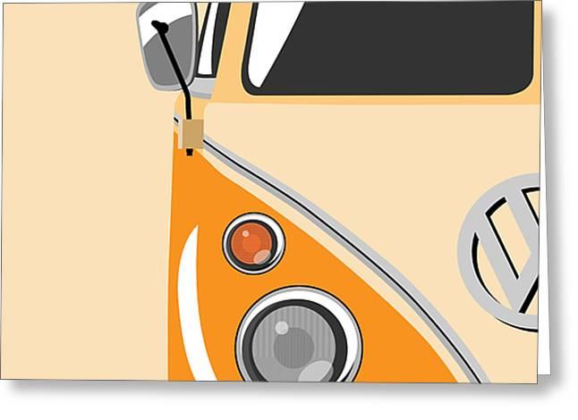 Camper Orange Greeting Card by Michael Tompsett