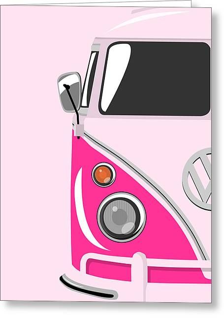 Sixties Greeting Cards - Camper Pink Greeting Card by Michael Tompsett