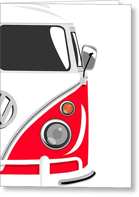 Sixties Greeting Cards - Camper Red 2 Greeting Card by Michael Tompsett