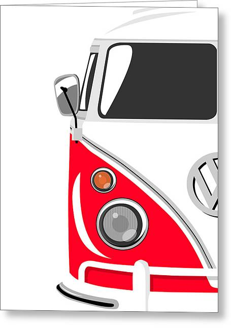 Sixties Greeting Cards - Camper Red Greeting Card by Michael Tompsett