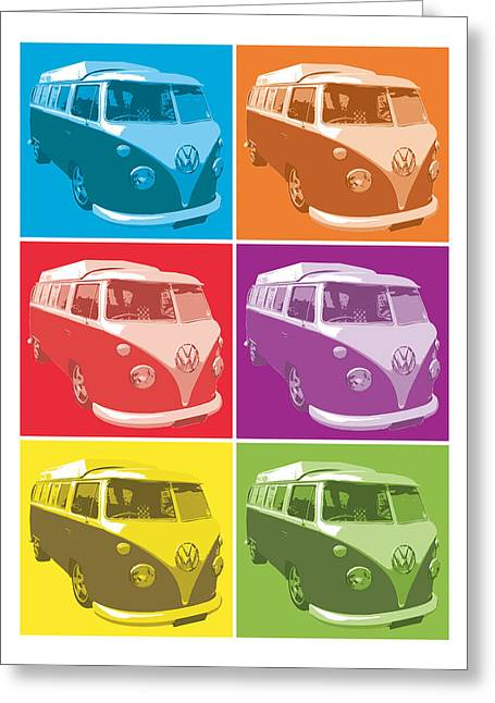 Sixties Greeting Cards - Camper Van Pop Art Greeting Card by Michael Tompsett