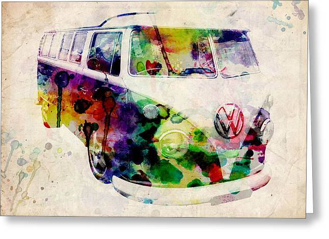 Sixties Greeting Cards - Camper Van Urban Art Greeting Card by Michael Tompsett