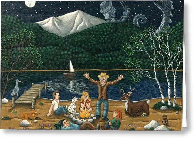 Camping Folklore On The Shores Of Lake Winnipisaukee Greeting Card by Joshua Ma Allistar