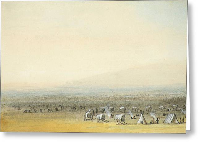 Chinook Paintings Greeting Cards - Camping on the Prairie Greeting Card by Alfred Jacob Miller