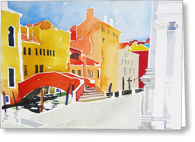 Venetian Canals Greeting Cards - Campo S Guistina Greeting Card by Simon Fletcher
