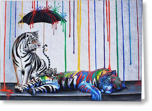 Raining Greeting Cards - Can A Tiger Change Its Stripes Greeting Card by Natalie Ortiz