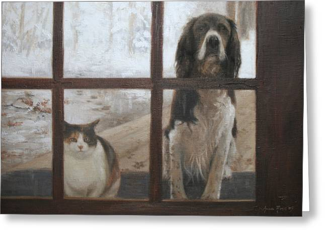 Paws Greeting Cards - Can We Come In Greeting Card by Anna Bain