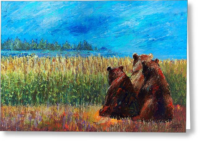Can You See Whats Going On... Greeting Card by Arline Wagner