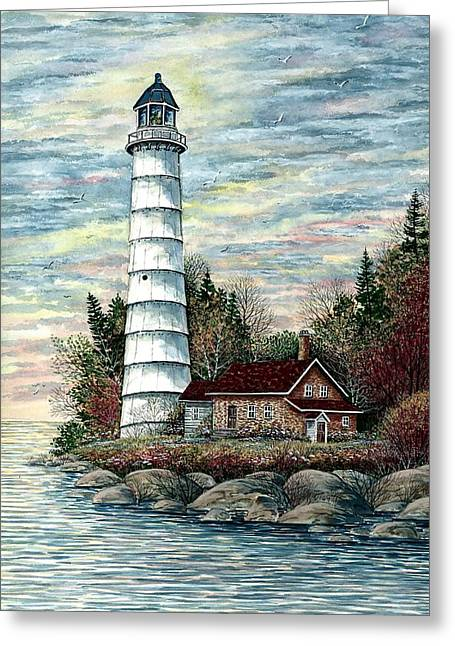 Recently Sold -  - Shack Greeting Cards - Cana Island Light Greeting Card by Steven W Schultz