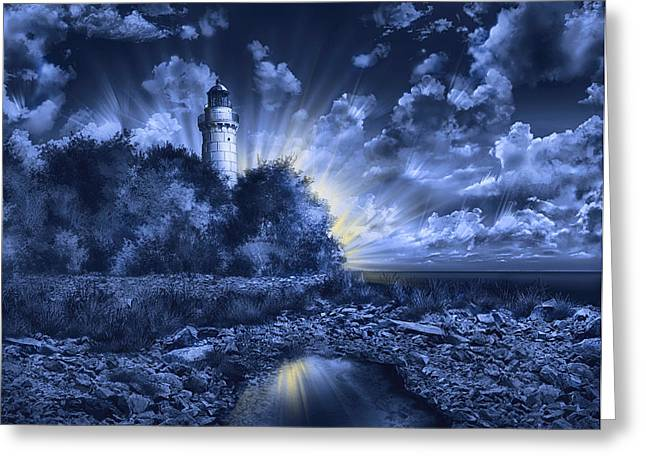 Surreal Digital Image Greeting Cards - Cana Island Lighthouse Blue Greeting Card by MB Art factory