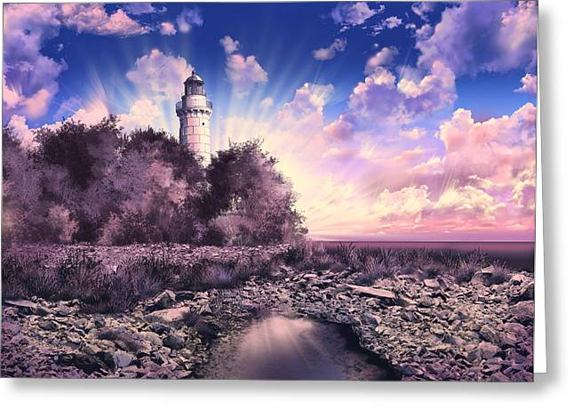 Surreal Digital Image Greeting Cards - Cana Island Lighthouse Greeting Card by MB Art factory