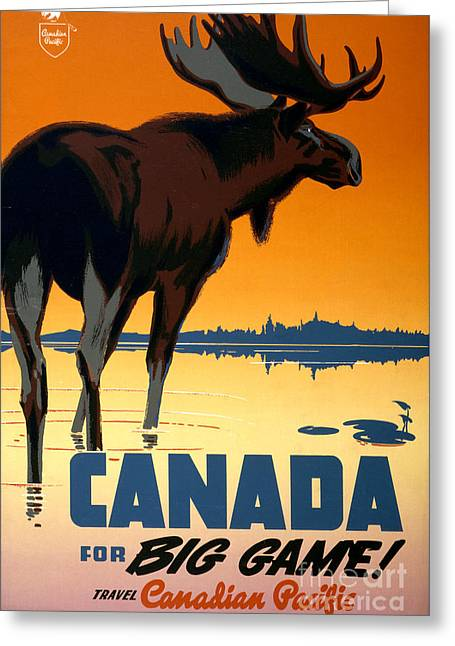 Historical Images Greeting Cards - Canada Big Game Vintage Travel Poster Restored Greeting Card by Carsten Reisinger