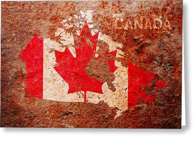 Canada Mixed Media Greeting Cards - Canada Flag Map Greeting Card by Michael Tompsett