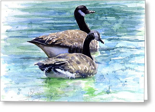 Water Fowl Greeting Cards - Canada Geese Greeting Card by John D Benson