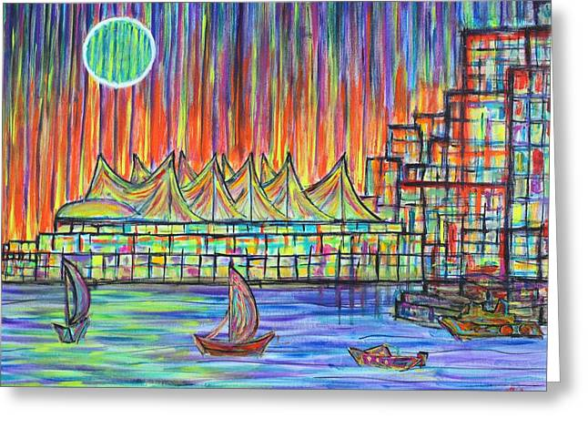 Canada Place, Vancouver, Alive In Color Greeting Card by Jeremy Aiyadurai