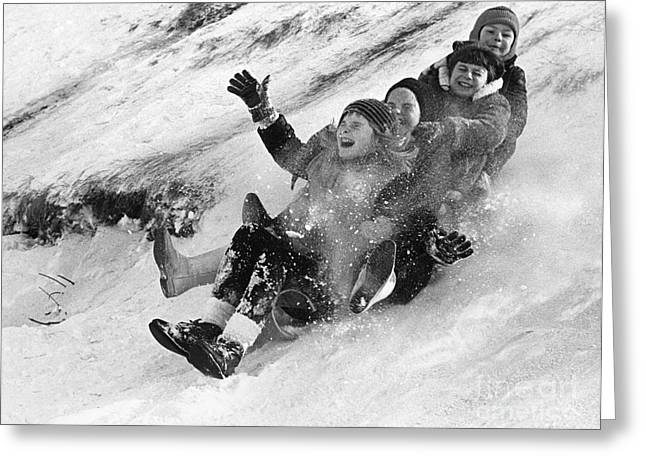 Recently Sold -  - Tobogganing Greeting Cards - Canada: Tobogganing Greeting Card by Granger
