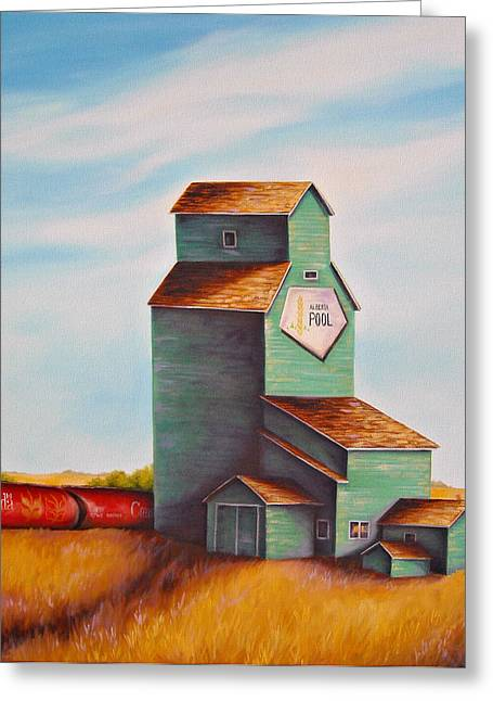 Prairies Greeting Cards - Canadas Grain Train Greeting Card by Kristina Steinbring