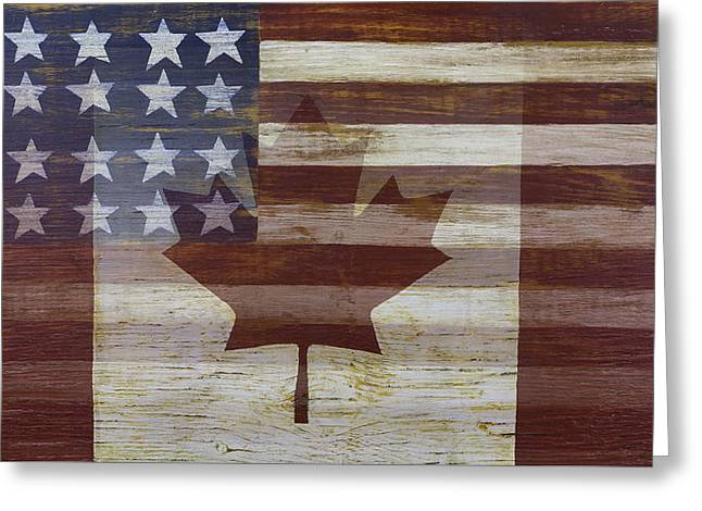 Canadian American Flag Greeting Card by Garry Gay