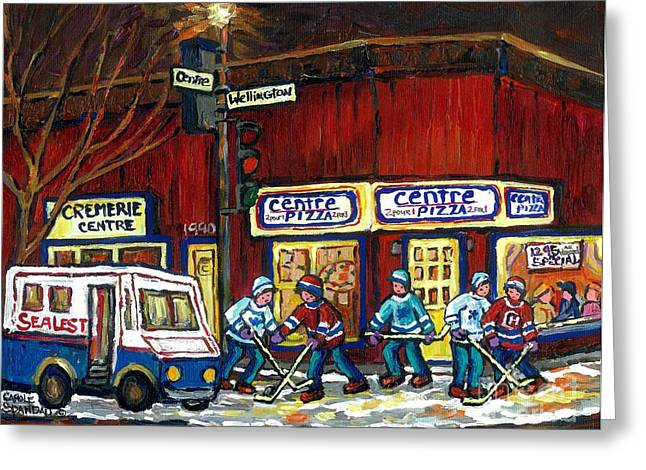 Hockey Paintings Greeting Cards - Canadian Art Pointe St Charles Paintings Night Hockey Game Centre Pizza Sealtest Delivery Truck  Greeting Card by Carole Spandau