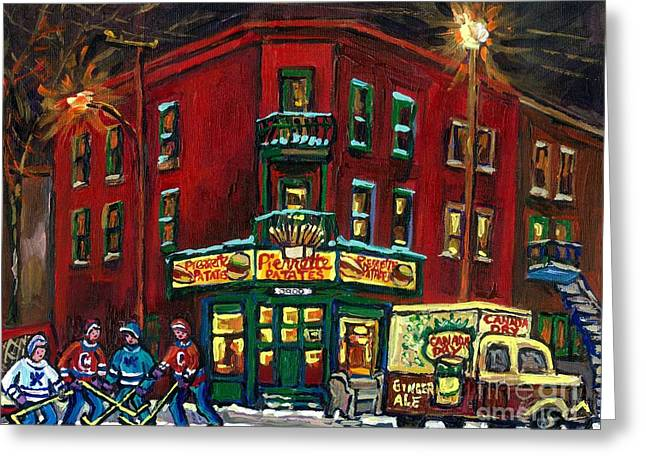 Verdun Restaurants Greeting Cards - Canadian Art Verdun Montreal Paintings Night Hockey Pierrette Patates Canada Dry Truck Winter Scene  Greeting Card by Carole Spandau