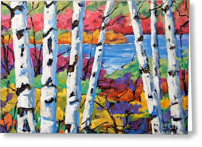 Montreal Paintings Greeting Cards - Canadian Birches by Prankearts Greeting Card by Richard T Pranke