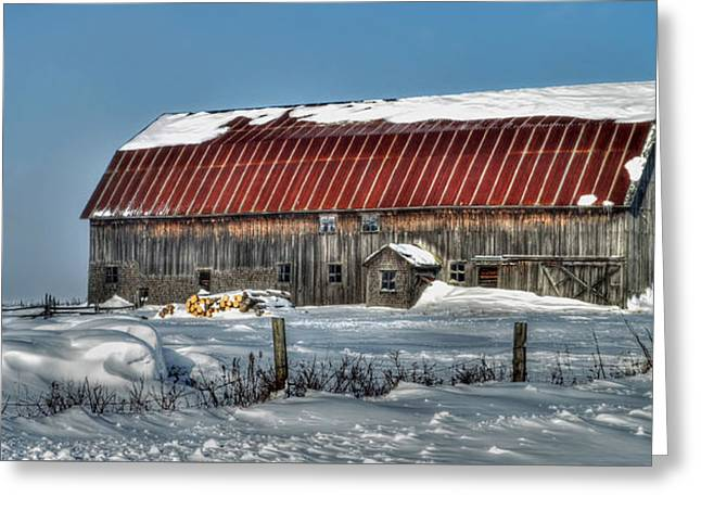 Wintry Greeting Cards - Canadian Farm in Winter Greeting Card by Viateur Beaulieu