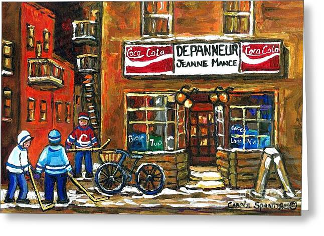 Winter Night Greeting Cards - Canadian Hockey Art Night Scene Coca Cola Depanneur Best Montreal Art Quebec Paintings For Sale Greeting Card by Carole Spandau