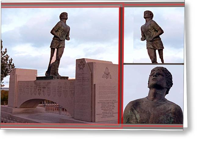 Figurine Mixed Media Greeting Cards - Canadian Landmark photography graphic collage Terry Fox Statue of great runner who made history Greeting Card by Navin Joshi