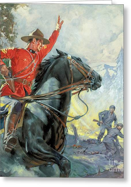Canadians Greeting Cards - Canadian Mounties Greeting Card by James Edwin McConnell