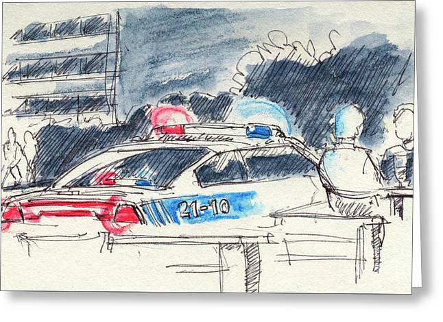 Canadian Police Car Lights Drawing Greeting Card by Frank Ramspott