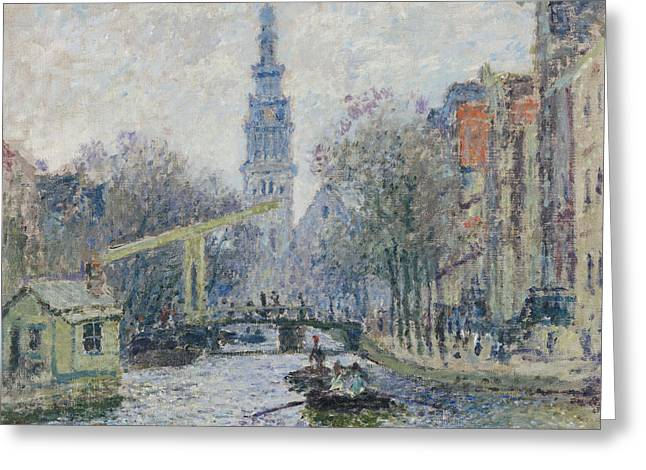 Amsterdam Paintings Greeting Cards - Canal Amsterdam Greeting Card by Claude Monet