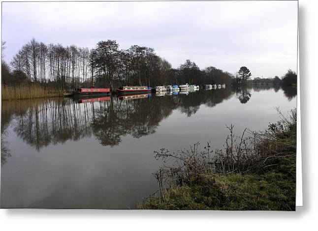 Canal boats on the Thames Greeting Card by Mike Lester