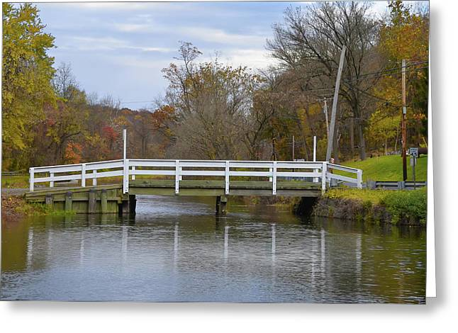 Canal Bridge Near Lambertville New Jersey In Autumn Greeting Card by Bill Cannon