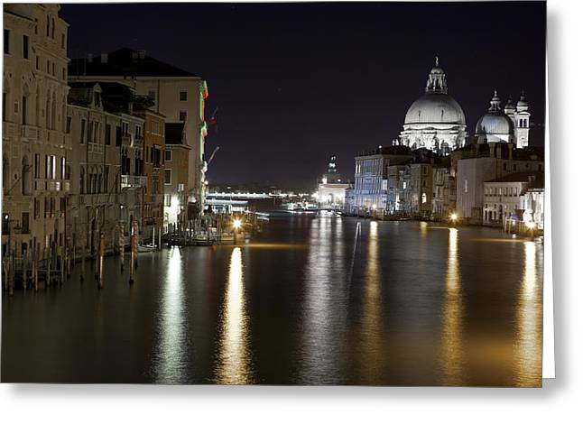 Evening Lights Greeting Cards - Canal Grande - Venice Greeting Card by Joana Kruse