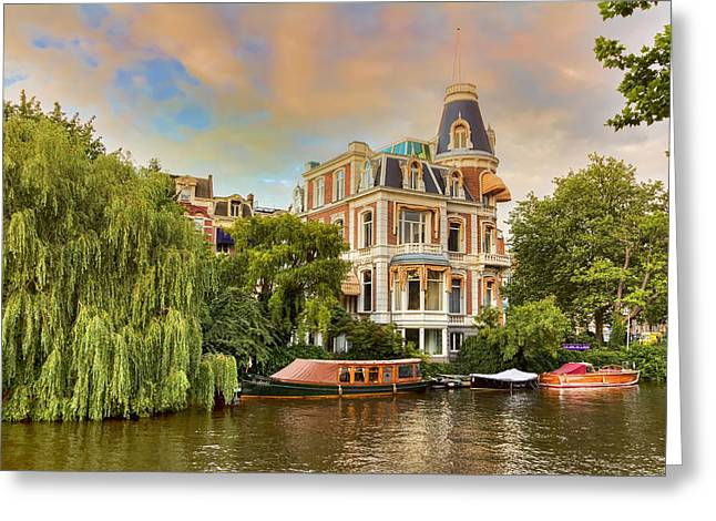 Weeping Greeting Cards - Canal In Amsterdam Greeting Card by Nadia Sanowar