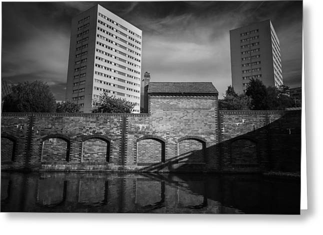 Birmingham Greeting Cards - Canal living in mono Greeting Card by Chris Fletcher