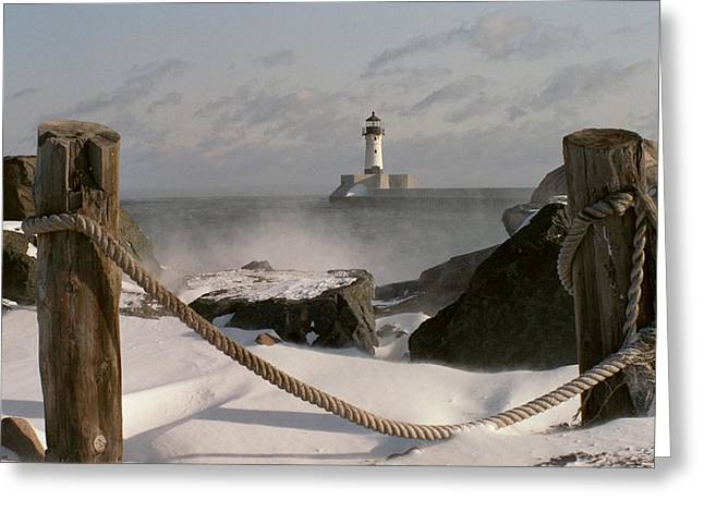 Winter Photography Greeting Cards - Canal Park Lighthouse Greeting Card by Heidi Hermes