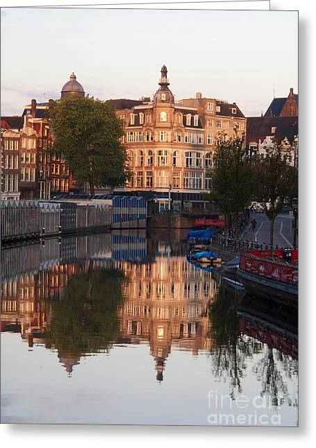 Reflecting Water Greeting Cards - Canal Singel in Amsterdam. Netherlands. Europe Greeting Card by Bernard Jaubert