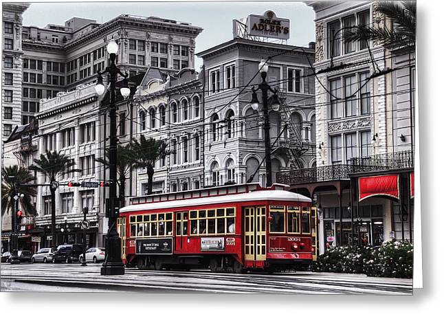 Best Sellers -  - Old Street Greeting Cards - Canal Street Trolley Greeting Card by Tammy Wetzel