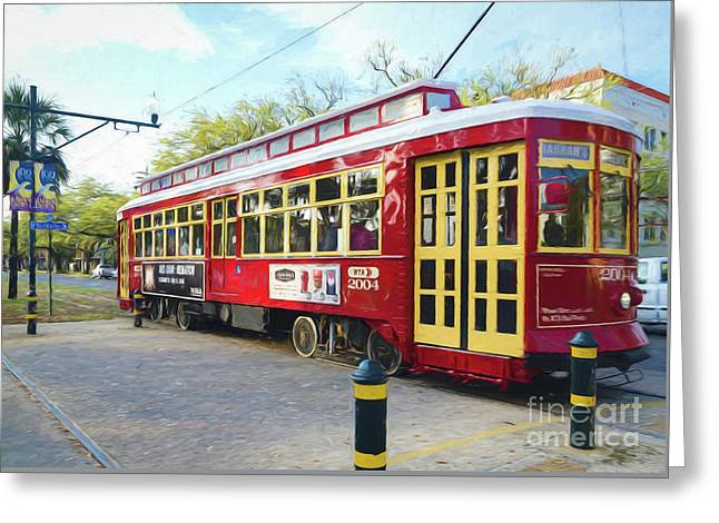 Canal Streetcar - Digital Painting Greeting Card by Kathleen K Parker