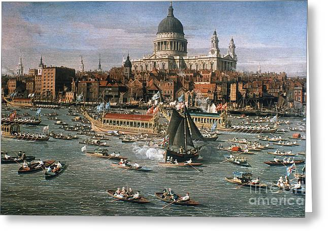 Antonio Canaletto Greeting Cards - CANALETTO: THAMES, 18th C Greeting Card by Granger